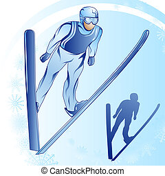 Jumps from a springboard_1 - Stylized illustration of jamped...