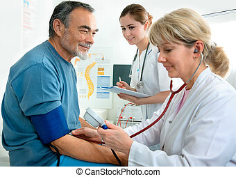 medical exam - Patient is being observed by doctor -...