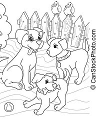 Childrens coloring book cartoon family on nature. Mom dog and puppies children