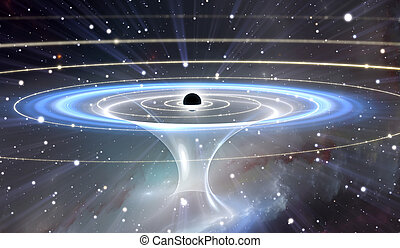 Wormhole or blackhole, funnel-shaped tunnel that can connect...
