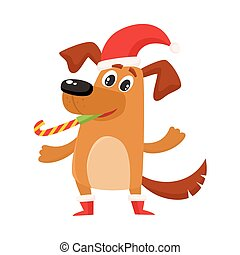 Funny dog character in Christmas hat and boots