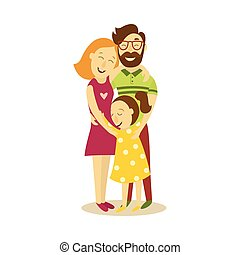 vector adult couple and young girl hugging