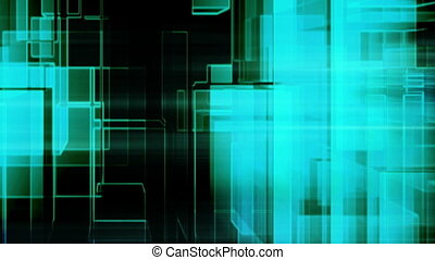 Blue green black glitch geometric abstract animated backdrop...