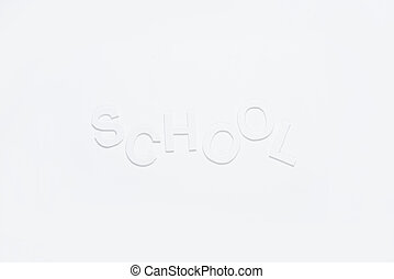 paper letters school with copy space isolated on white background