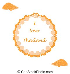 Stylized icon of pearl necklace and shell. Design for...