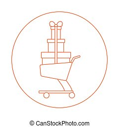 Stylized icon of shopping cart with gifts. Design for...