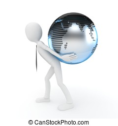 3d man with globe