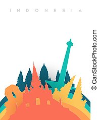Travel Indonesia 3d paper cut world landmarks - Travel...