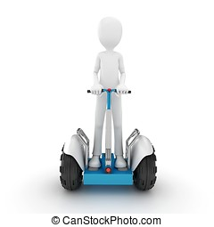 3d man with electric scooter isolated on white