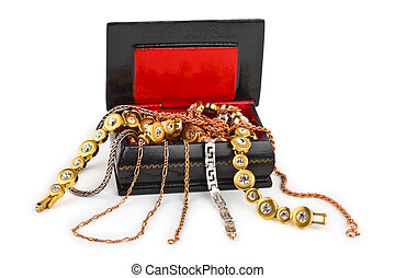 Box with jewelry isolated on white background