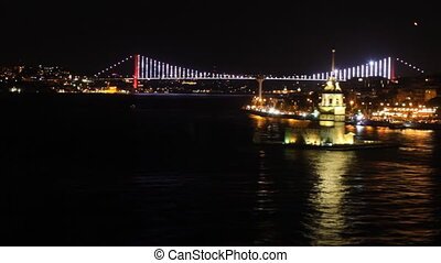 View of Istanbul with a bridge in the background at night