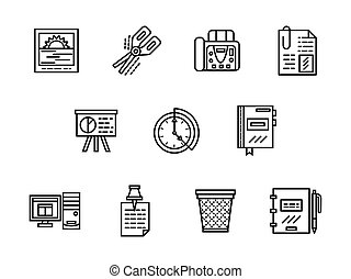 Office black line vector icons set