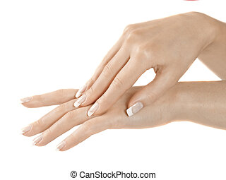 female hand palm isolated