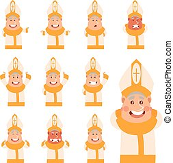 Set of flat cartoon Pope icons - Vector image of the set of...