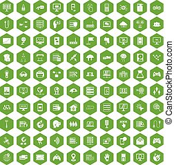 100 network icons hexagon green - 100 network icons set in...