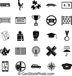 Charabanc icons set, simple style - Charabanc icons set....