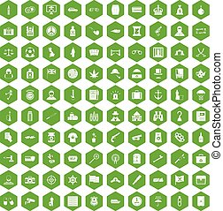 100 offence icons hexagon green - 100 offence icons set in...
