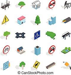 Crossroad icons set, isometric style - Crossroad icons set....