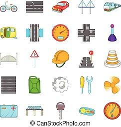 Gateway icons set, cartoon style - Gateway icons set....