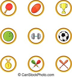 Sport icon set, cartoon style