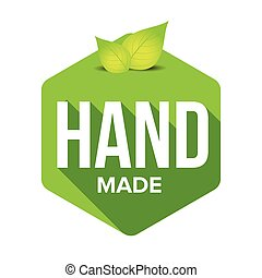Hand Made sign label with leaves vector