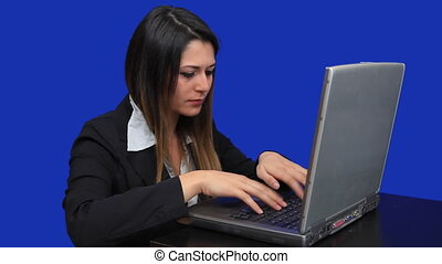 blue screen beautiful business woman girl laptop online marketing talk trade