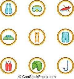 Water sport equipment icon set, cartoon style