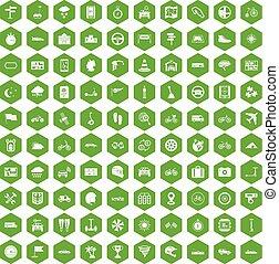 100 ride icons hexagon green