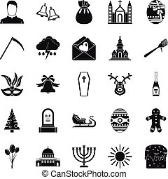 Faith icons set, simple style - Faith icons set. Simple set...