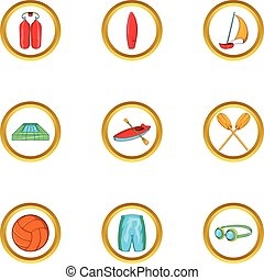 Water sport holiday icon set, cartoon style