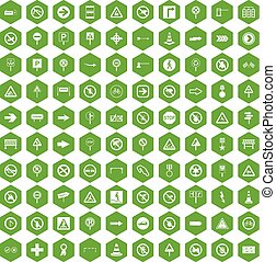 100 road signs icons hexagon green - 100 road signs icons...