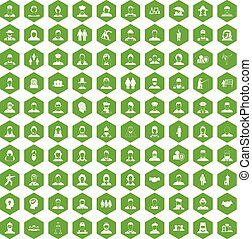 100 people icons hexagon green - 100 people icons set in...