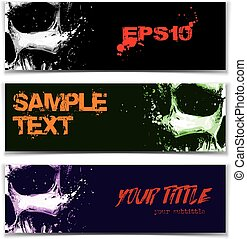 Skull Artistic Splatter Banners Black Green Purple