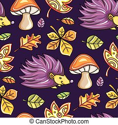 Autumn seamless pattern with leaves and Hedgehog and mushrooms. Fall textures series.