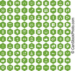 100 team icons hexagon green - 100 team icons set in green...