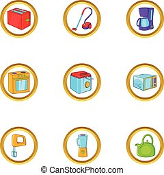 House electronics icon set, cartoon style