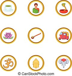 India tradition icon set, cartoon style - India tradition...