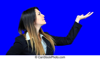 blue screen beautiful business woman girl concept holding...