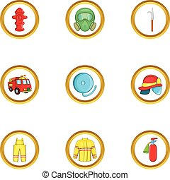 Firefighter department icon set, cartoon style