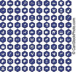 100 animals icons hexagon purple