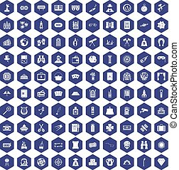 100 adult games icons hexagon purple - 100 adult games icons...