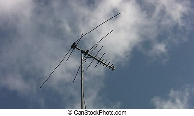 TV antenna 2 shots - Two shots of an old and slightly bentTV...