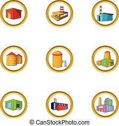 Industrial construction icon set, cartoon style