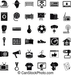 Multimedia icons set, simple style