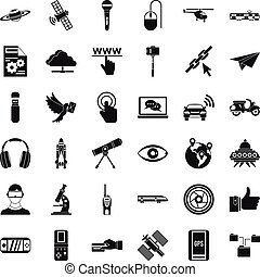 Wireless technology icons set, simple style - Wireless...