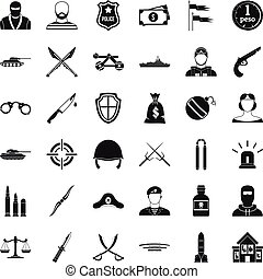 Weapon icons set, simple style