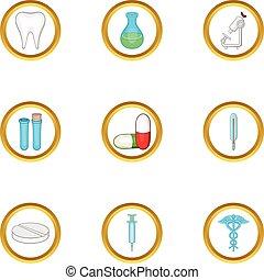Medical laboratory icon set, cartoon style - Medical...