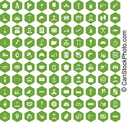 100 working professions icons hexagon green - 100 working...