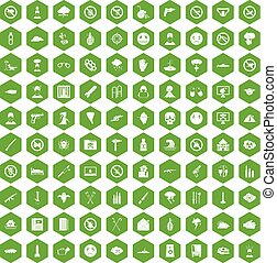 100 tension icons hexagon green - 100 tension icons set in...