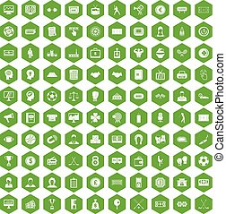 100 totalizator icons hexagon green - 100 totalizator icons...